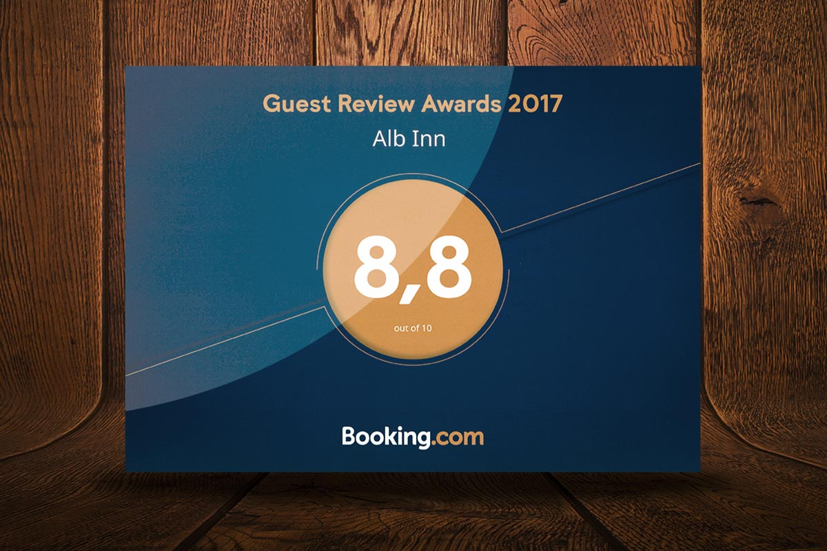 8,8 Punkte beim Guest Review Award 2017 von booking.com